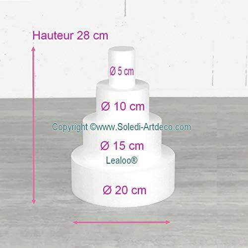 Lealoo Petite pi/èce mont/ée Haut 28 cm en polystyr/ène pour g/âteau Styropor Base /Ø 20cm /à 5cm 4 disques de 7cm de Haut