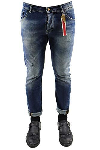 Scuro Modello Denim Uomo Lavaggio Da Sfumature Fisso Fit Slim 5 Labelroute Tasche Cotone In Jeans Casual Con 1ggTw