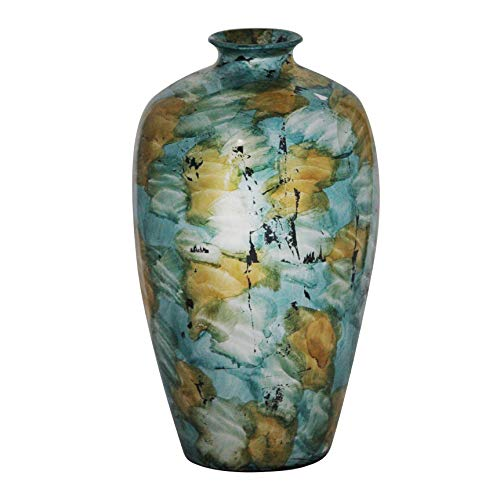 Heather Ann Creations Ruth Ceramic Decorative Water Jar Floor Vase, Blue/Gold/White (Vase Gold Floor Large)