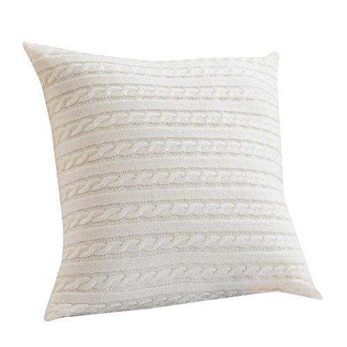 "Hot Sale!!18"" x 18"" Cafe Sofa Cushion Cover Home Decor,Knitting Fashion Throw Pillow Cases With Hidden Zipper (White)"