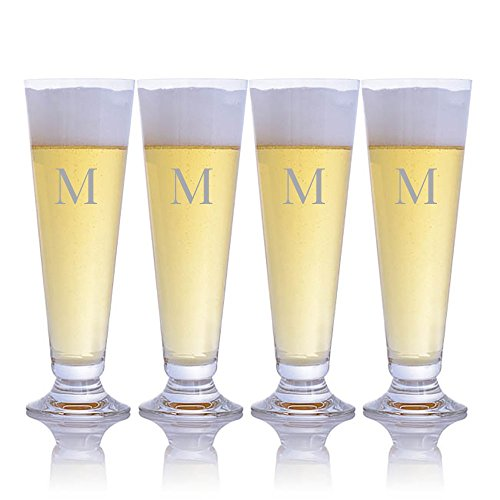 Crystal Pilsner Set - Personalized Waterford Crystal Pilsner Beer Glass 4pc Set Engraved & Monogrammed - Great for Groomsmen Gift or a Home Bar Addition