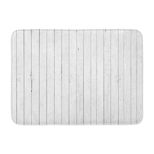 Rustic Wood Panel Bath Mat,Kutita Bath Mat Rug White Wood White Wood Floor Wall Old Wooden Wallpaper Gray 17X24 Bath Rug Absorbent Bathroom Rugs Non-Slip Meterial for Bathroom Indoor Corridors