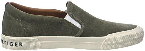 Tommy Hilfiger Herren Heritage Suede Slip On Sneaker Grün (Dusty Olive 011)