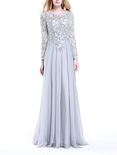 Lace Crystal Women's Silver with Silver Fanciest Dresses Prom Long Sleeves Evening Gowns wUF1ZEaTq