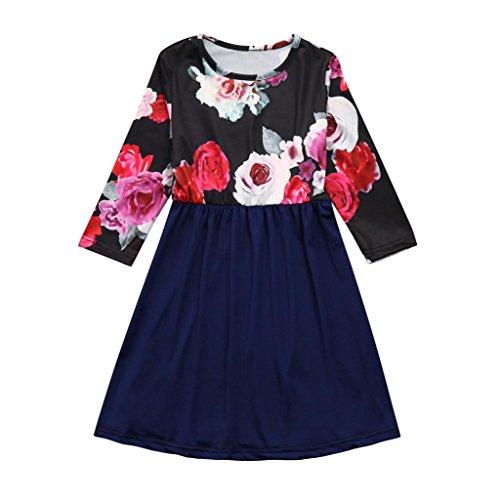 Mother Daughter Long Dress Daoroka Parent-child Women Girl Matching Floral Mom Kids Half Sleeve Maxi Long Dress (2-3T/100, Girl/Blue)