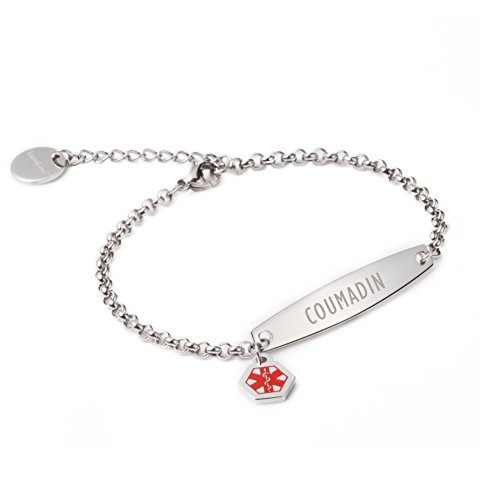 ed Simple Rolo Chain Medical id Bracelet for Women & Girl-COUMADIN ()