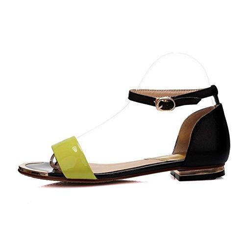 Amoonyfashion Mujer's Pull On No Heel Cow Cuero Sólido Sandalias De Punta Abierta Negro