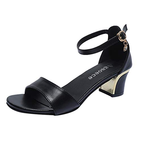 Sandals for Women,YuhooSUN Casual One Band Ankle Strap Sandals Casual Round Toe Buckle Thick Heel Open Toe Shoes Black