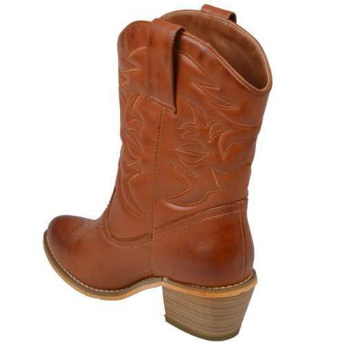 Brinley Co. Womens Topstitched Cowboy Boots