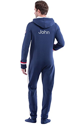 PajamaGram Personalized Team USA Hooded Onesie Footed Pajamas for Men, Blue, XXL ()