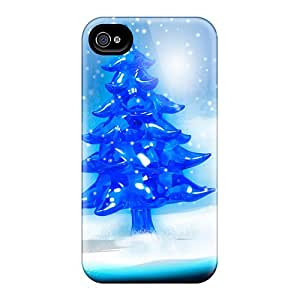 First-class Case Cover For Iphone 5/5s Dual Protection Cover Snowy Christmas Tree