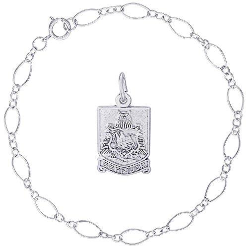 Rembrandt Charms Sterling Silver Bermuda Crest Charm on a Figaro Link Bracelet, 8