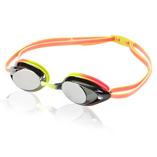 Speedo Vanquisher 2.0 Mirrored Swim Goggles, Panoramic, Anti-Glare, Anti-Fog with UV Protection, Citrus Green, 1SZ