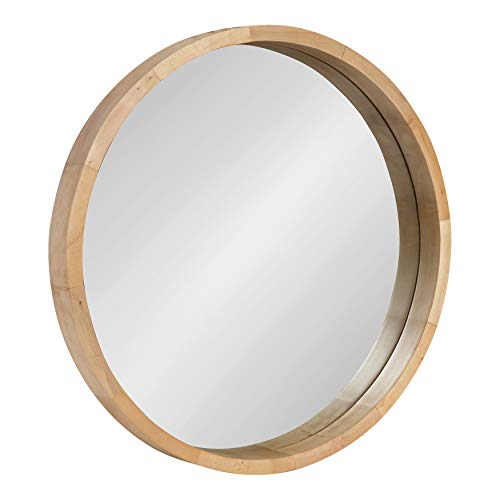 Kate and Laurel Hutton Round Decorative Modern Wood Frame Wall Mirror, 22 -