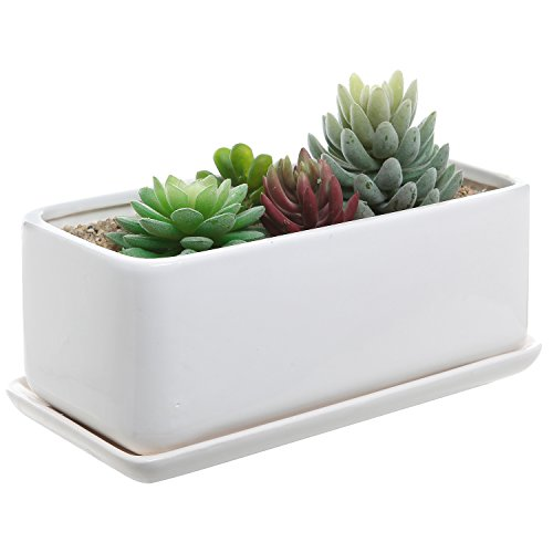 - 10 inch Rectangular Modern Minimalist White Ceramic Succulent Planter Pot/Window Box with Saucer