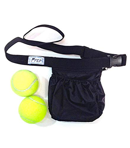 Tennis Ball Holder Bag | SPORTS & TRAVEL HIP PACK - Black | Pickleball Holder | PERFECT TRAVELING AIRPORTS (Tennis Balls, Pickle Balls, iPhone, Keys, Passport) Pocket For Every Purpose (PFEP)