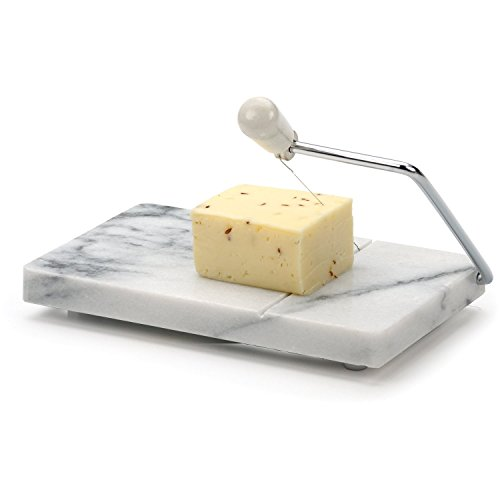 RSVP Polished 8 x 5 White Marble Board Cheese Slicer
