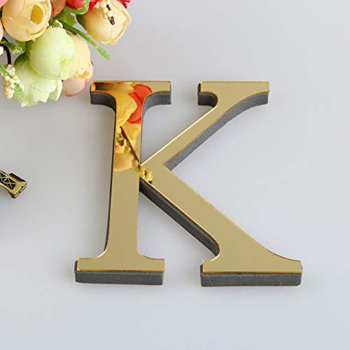 - NIHAI 26 Letters Gold 3D Acrylic Mirror Wall Sticker DIY Art Mural Decals Wall Decor for Kids Girl Boy Baby Bedroom Living Room Corridor Murals Home Decor (K)