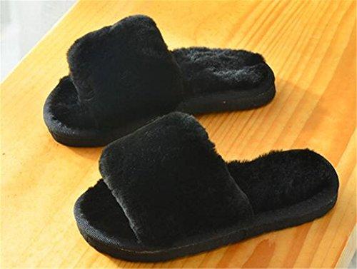 Aksautoparts Anti-dérapant Intérieur Extérieur Pantoufles Hiver Épais Maison Chaleur Épaissie Pantoufles De Coton Noir