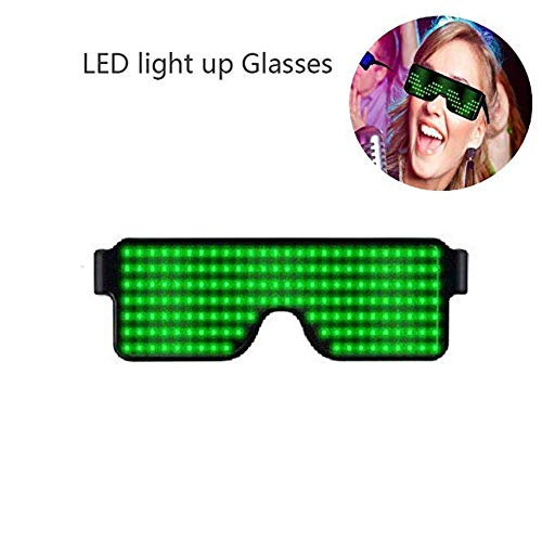 Light Up Eyeglasses Flashing Shutter Neon Glowing Glasses Multicolor LED Luminous Glasses with 8 Modes for Party Christmas Birthday]()