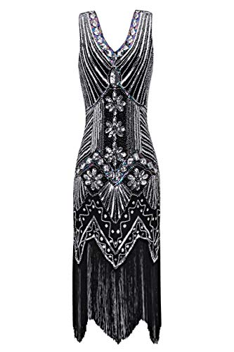 Metme Women's 1920s V Neck Beaded Fringed Gatsby Theme Flapper Dress For Prom,Black/silver,XXXX-Large