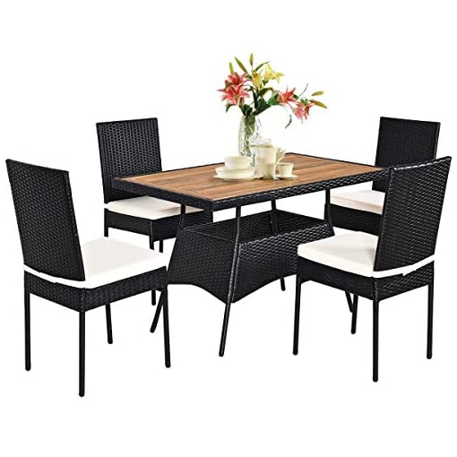 Garden and Outdoor Tangkula 5 PCS Wicker Patio Dining Set, Outdoor Rattan Table & Chairs Set with Padded Cushions, Patio Furniture Dining… patio dining sets