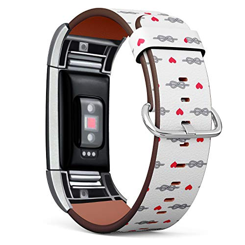 Compatible with Fitbit Charge 2 - Leather Band Bracelet Strap Wristband Replacement with Adapters - Figure Eight Knot Heart Hearts
