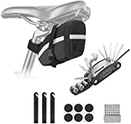 Ideashop Bicycle Repair Tool Kit, Bike Saddle Bag Repair Set, with 16-in-1 Multifunctional Tool and Tire Patch