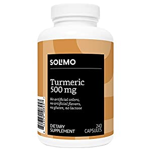 Amazon Brand - Solimo Turmeric Curcumin 500mg, 240 Capsules, up to Eight Month Supply