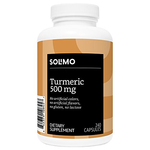 Amazon Brand – Solimo Turmeric Curcumin 500mg, 240 Capsules, Up to Eight Month Supply