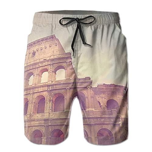 Roman Colosseum Funny Swim Trunks Quick Dry Beachwear Sports Running Swim Board Shorts Mesh Lining White - Colosseum Mesh Shorts