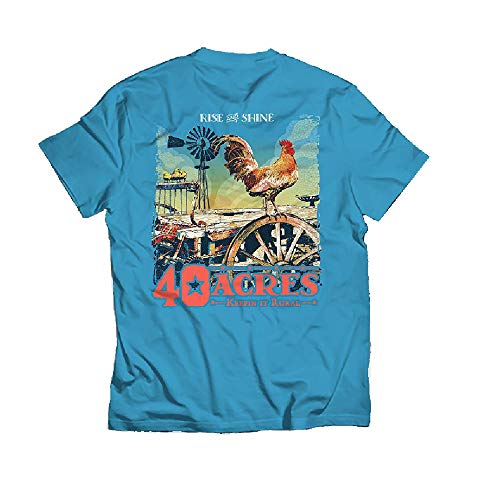 Peace Frogs 40 Acres Rise and Shine Short Sleeve T-Shirt (Turquoise, XXX-Large) ()