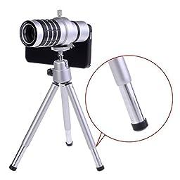 Shopping_Shop2000 12x Zoom Telephoto Telescope Phone Camera Lens Kit and Mini Tripod, Silver