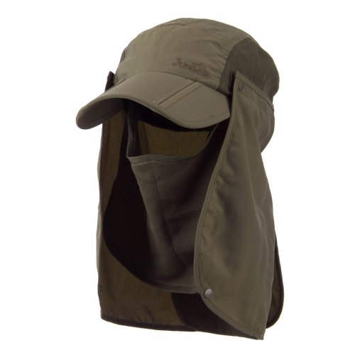 UV 50+ Folding Bill Cap with Double Flaps - Olive OSFM (Flap Hat Mesh E4hats)