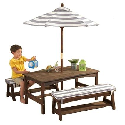 KidKraft Table, Bench Set Gray U0026 White Outdoor Furniture