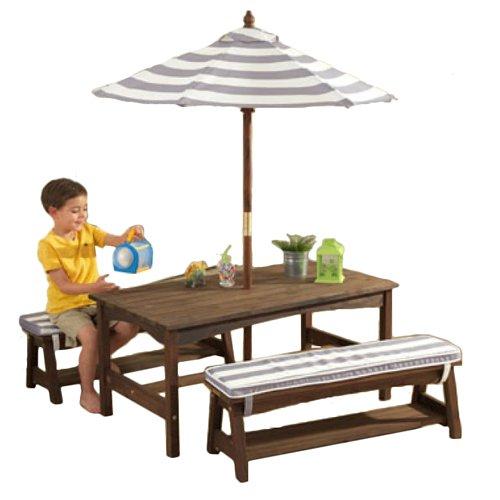 Kidkraft Table Bench Set Gray White Outdoor Furniture