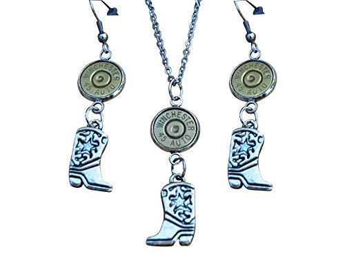 (Bullet Necklace and Earrings with Cowboy Boot Charms and Brass 45 Caliber Bullet. S680)
