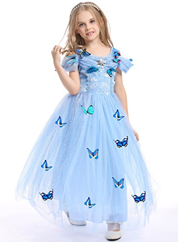 Brave Toddler Costume (Girls New Princess Fancy Dress Up Costume Party Cosplay Outfit Butterfly Layered Skirt (Blue/Sleeveless, S/3-4T))