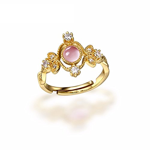 - HALOQUEEN 0.6CT Round Cut Natrual Sky Blue Moonstone Rose Quartz Rings 925 Silver For Women Adjustable Size