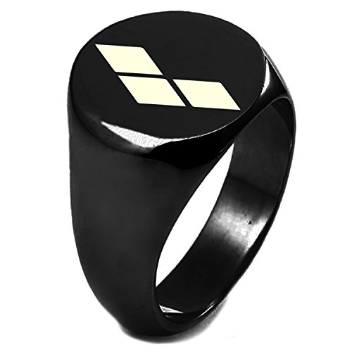 Black IP Plated Sterling Silver DC Harley Quinn Logo Engraved Round Flat Top Polished Ring, Size 8