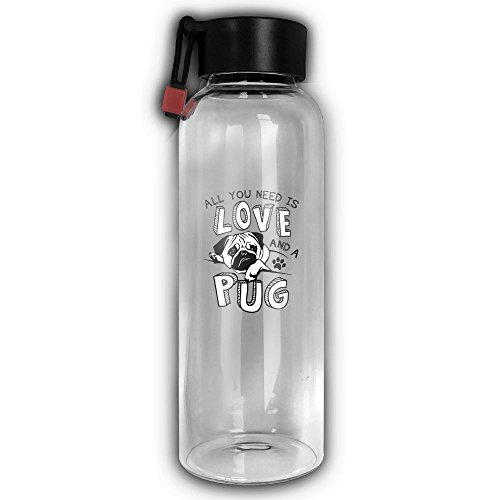 All You Need Is Love And A Pug High Temperature Resistant Carry Rope Portable Water Glass Bottle Drinking Reusable Waterbottle Cup Mug 550 Ml