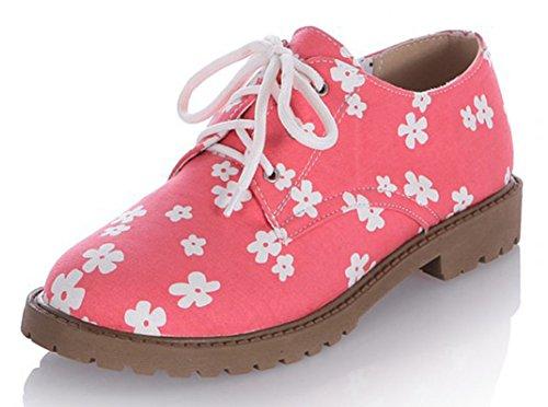 Sfnld Dames Sweet Ronde Neus Laag Uitgesneden Floral Lace Up Lage Dikke Hak Loafers Schoenen Rood