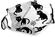 ETHAICO Witchy Cats Mystic Familiar Character for Magic Flatcolor Adorable,Reusable Face Mask Balaclava Washab