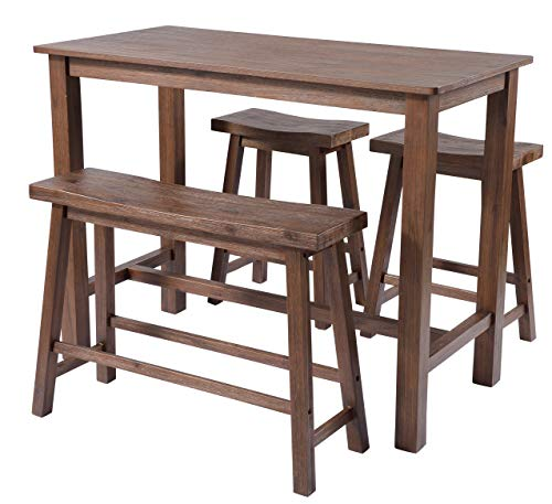 Boraam 75127 4 Piece Sonoma Pub Table Set, Neutral Driftwood Gray Finish, Chestnut (Dining Pub Table Sonoma Room)