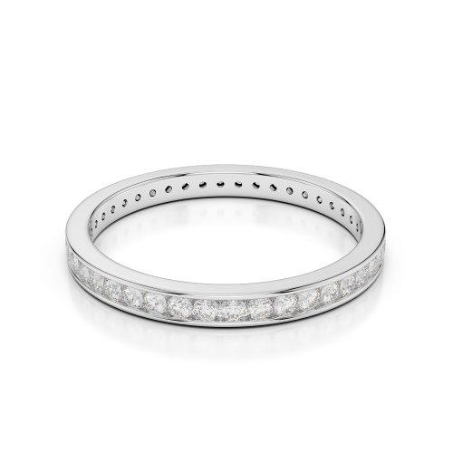 Or blanc 18carats 1/2ct G-H/VS sertie de diamants ronds Cut éternité Bague Agdr-1086