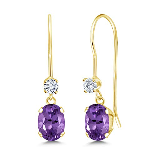 (14K Yellow Gold Dangle Earrings Oval Purple Amethyst and Forever Classic Created Moissanite 0.12ct (DEW) by Charles & Colvard)