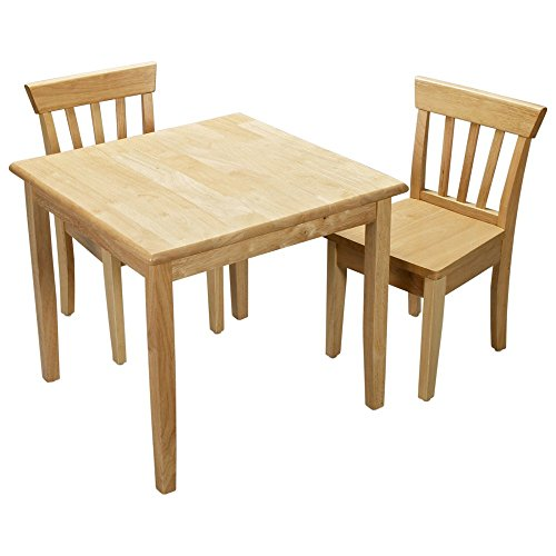 Gift Mark Square Table and Chair Set - Natural