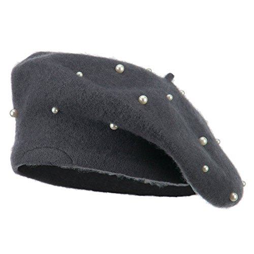 Women's Fake Pearl Accents Beret - Grey OSFM