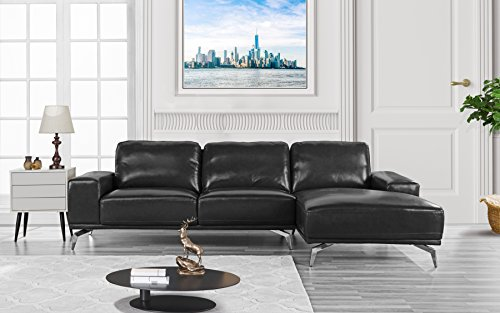 Modern Real Leather Sectional Sofa, L-Shape Couch w/Chaise on Right (Black)