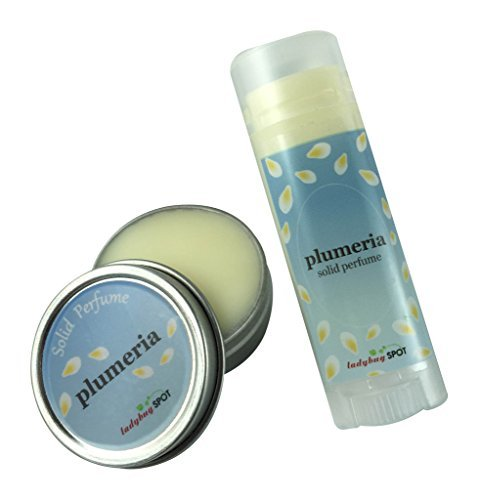 Long Lasting Natural Solid Perfume Travel Size Combo - Plumeria Flower Scent by Ladybug Spot - Flower Solid Perfume